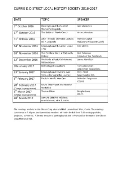 Curry and District Local History Society 2016-17 Syllabus