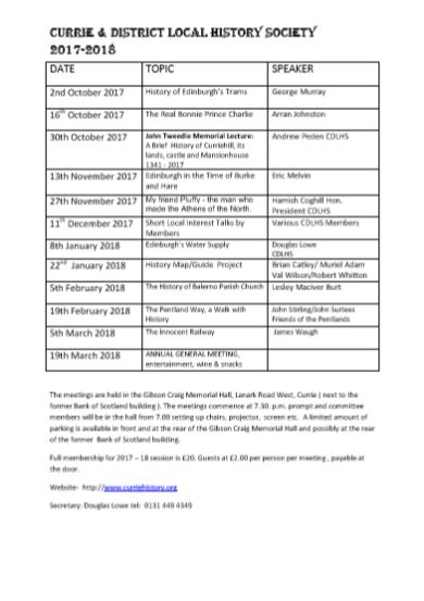 Curry and District Local History Society 2017-18 Syllabus