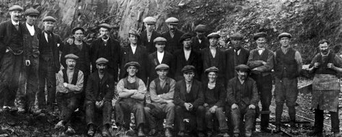 Ravelrig Quarrymen, 1923-25. Front rightof photo is William Samuel, on his left is his son, Thomas Samuel. Thomas won the Scottish Pairs Bowling Championship with Jackie Forrest in 1938. Harry Rankin, another bowler, is 6 along from left in the middle row.