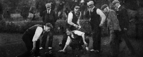 Currie Bowling Club opening match against Juniper Green Bowling Club.  Bowlers in action: T Ritchie(JG); Wattie Young(C); Rigby(JG); S. Muirhead; Jack Hughes; A.N. Other; Sir Oliver Riddell. Spectators: Wattie Rankin; Dod Falconer; Harry Rankine; Jack Forrest, 1920s.