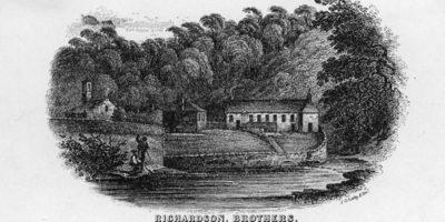 Spylaw Snuff Mill engraving, 1820s.