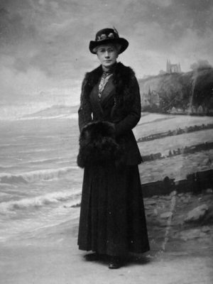 """Miss Huffel, who lived in """"The Bield"""" and ran a sewing club.  When Juniper Green became part of Edinburgh she made sure the Village Hall was maintained for the residents, c1900."""