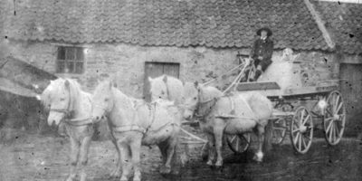 """East Bank Mill. 1900. The owner had originally owned a circus and his white ponies and dogs were known as the """"happy Family""""."""