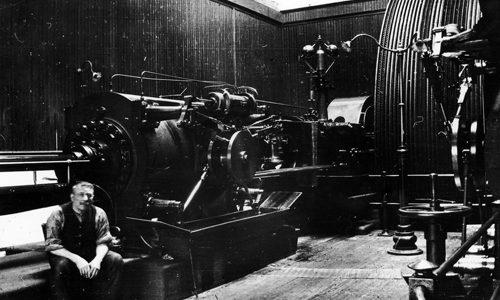 Kinleith Mill engineer in boiler room.