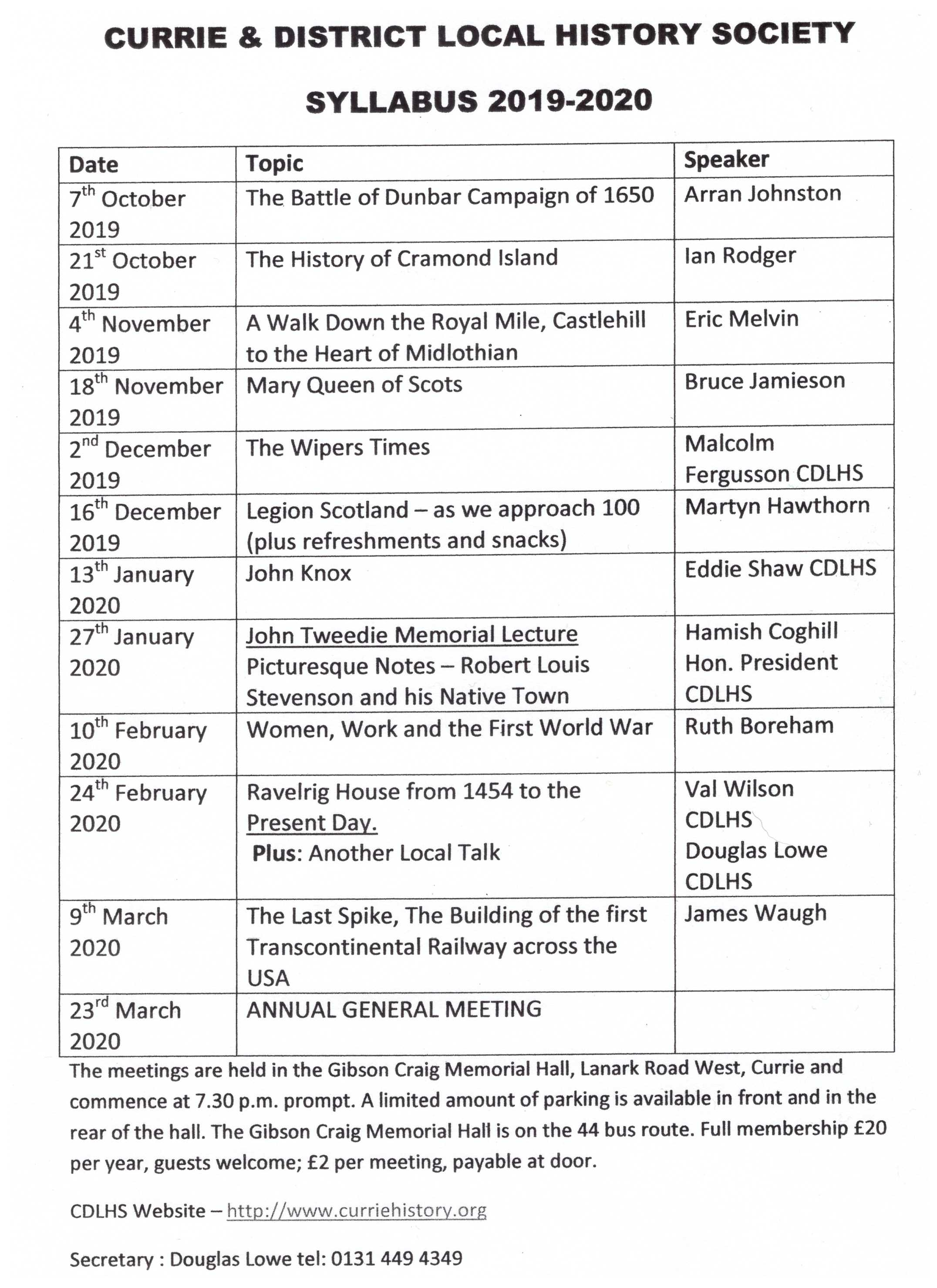 Curry and District Local History Society 2018-19 Syllabus